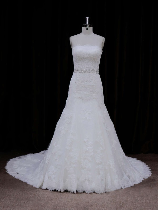 Ivory Chapel Train Tulle Appliques Lace Best Strapless Wedding Dress #DOB00021667
