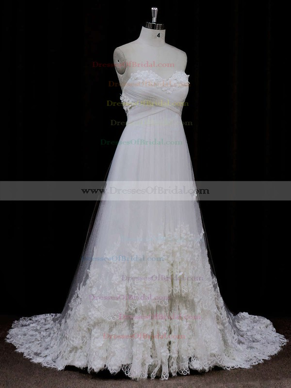 Sweetheart Ivory Tulle Appliques Lace Empire Backless Wedding Dress #DOB00021678