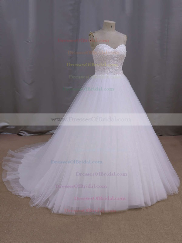 White Tulle Sweetheart Appliques Lace Court Train Top Wedding Dress #DOB00021679