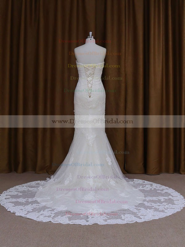 Ivory Lace Beading Sweetheart Trumpet/Mermaid Chapel Train Wedding Dresses #DOB00021687