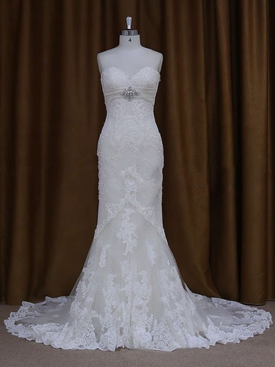 Ivory Lace Beading Sweetheart Trumpet/Mermaid Chapel Train Wedding Dresses #DOB00021687