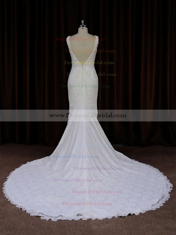 Backless Ivory V-neck with Buttons Trumpet/Mermaid Lace Wedding Dresses #DOB00021688