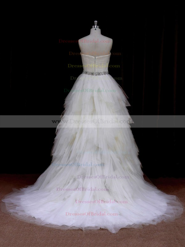 Sweetheart Tiered Tulle Beading Princess Ivory Latest Wedding Dresses #DOB00021691