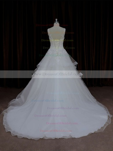 Ball Gown Ivory V-neck Tulle Appliques Lace Popular Wedding Dresses #DOB00021695