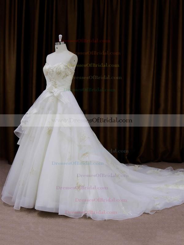Hot Ivory Organza Sashes/Ribbons Sweetheart Chapel Train Wedding Dresses #DOB00021696