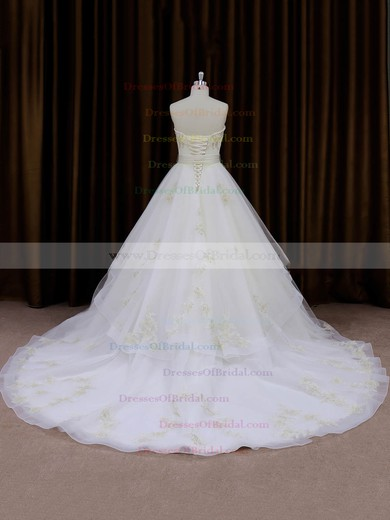 Hot Ivory Organza Sashes/Ribbons Sweetheart Chapel Train Wedding Dresses #DOB00021696