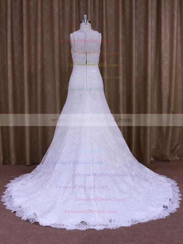 White Lace with Beading Scoop Neck Court Train Elegant Wedding Dresses #DOB00021697