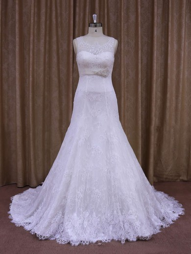 White Lace with Beading Scoop Neck Court Train Elegant Wedding Dresses #DOB00021697