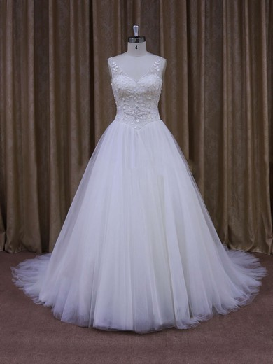 Ball Gown White Tulle Crystal Detailing Affordable V-neck Wedding Dresses #DOB00021699