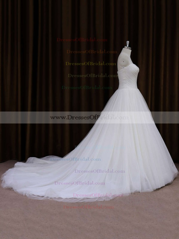 Beautiful Ivory Chapel Train Tulle Ruffles Sweetheart Wedding Dresses #DOB00021701
