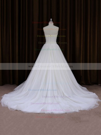 Beautiful Ivory Chapel Train Tulle Ruffles Sweetheart Wedding Dresses #DOB00021701