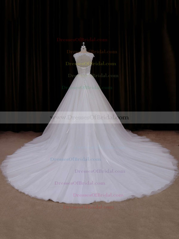 Cathedral Train Ivory Open Back Tulle Appliques Lace Sweetheart Wedding Dresses #DOB00021704