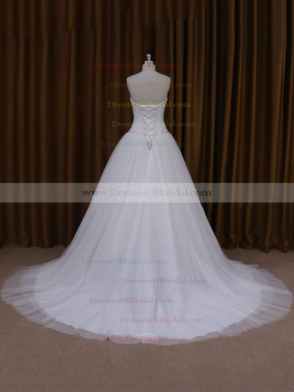 Princess Ivory Lace-up Tulle Beading Court Train Wedding Dresses #DOB00021705