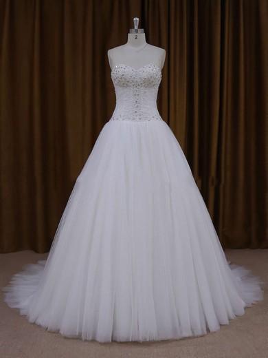 Princess Ivory Lace-up Tulle Beading Court Train Wedding Dresses #DOB00021705