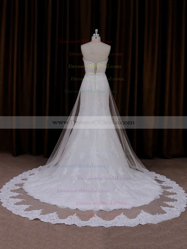 Cheap Ivory Trumpet/Mermaid Lace Tulle Appliques Lace Sweetheart Wedding Dresses #DOB00021717