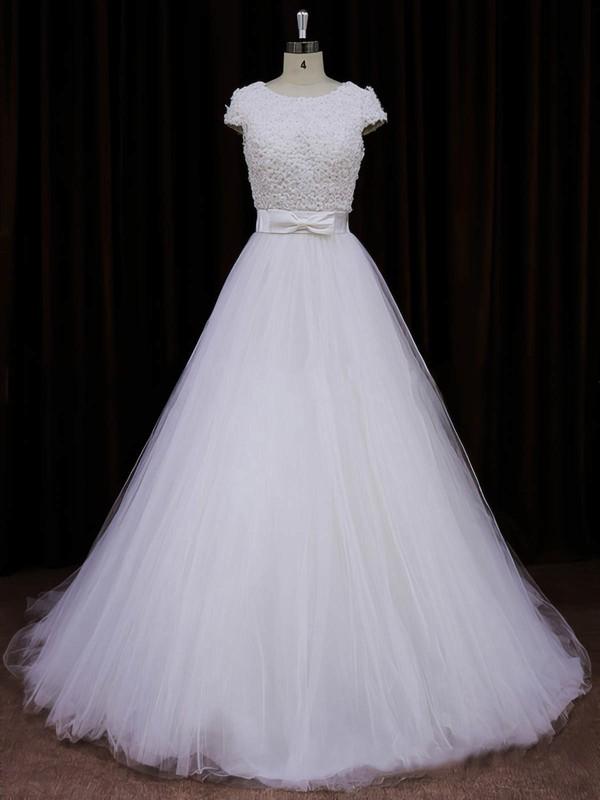 Ivory Princess Tulle Appliques Lace Cap Straps Scoop Neck Wedding Dresses #DOB00021745