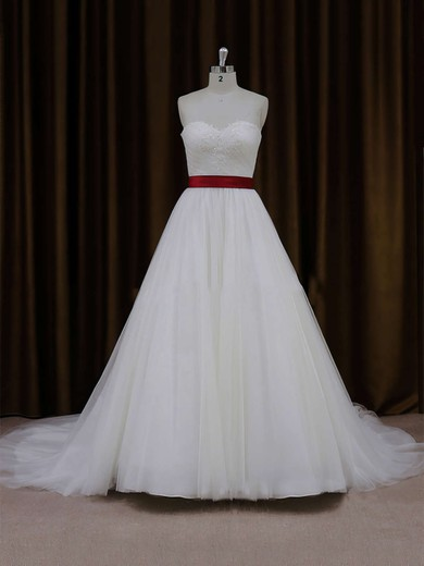 Ball Gown Ivory Lace-up Tulle Sashes/Ribbons Sweetheart Wedding Dress #DOB00021779