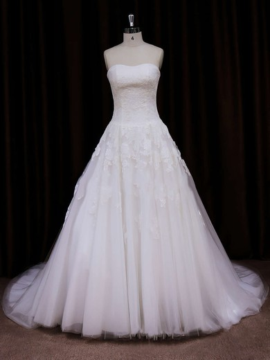 Ivory Chapel Train Tulle Appliques Lace Ball Gown Lace-up Wedding Dress #DOB00021785