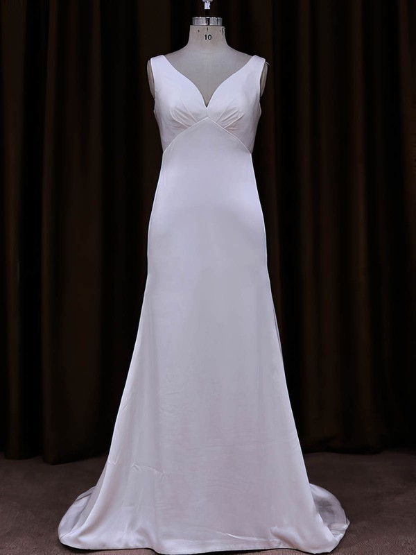 Sheath/Column Tulle Silk-like Satin Sequins V-neck White Wedding Dress #DOB00021787