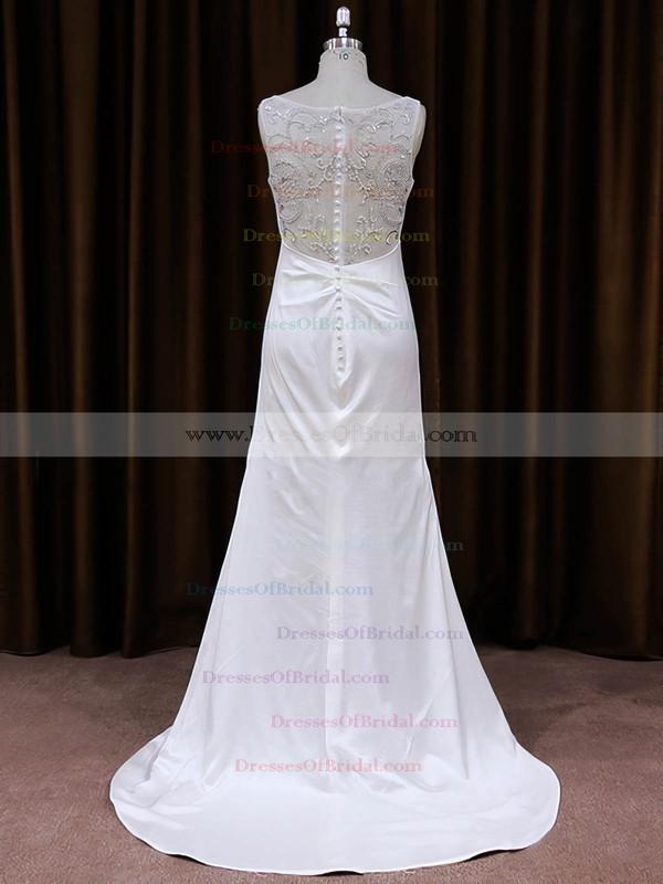 Sheath/Column Tulle Silk-like Satin Sequins V-neck White Wedding Dress #DOB00021787
