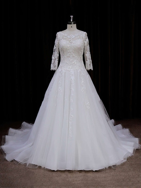 Scoop Neck 3/4 Sleeve Tulle Appliques Lace Chapel Train Ivory Wedding Dress #DOB00021788