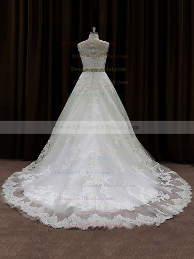 Princess Lace Appliques Simple Scoop Neck Ivory Wedding Dress #DOB00021791