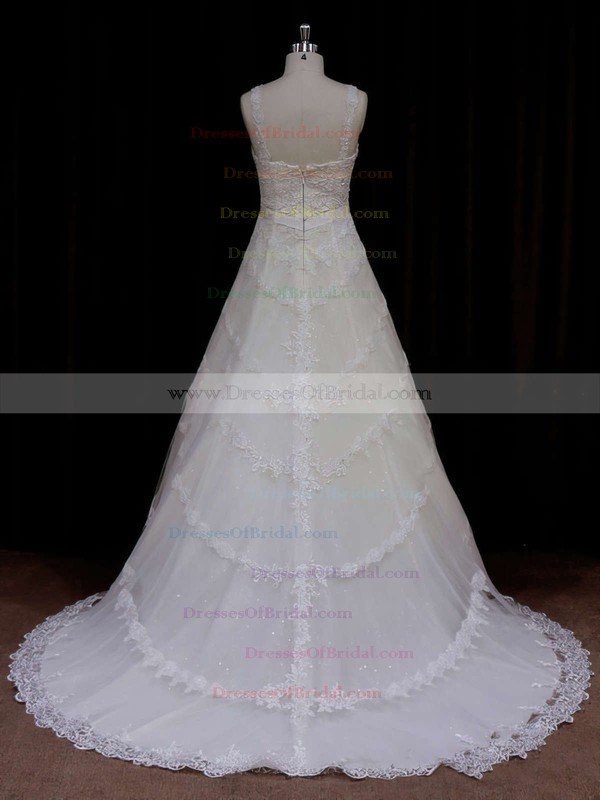 Amazing Court Train Ivory Tulle Appliques Lace Sweetheart Wedding Dress #DOB00021796
