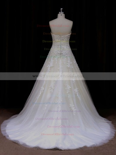 Exclusive Ivory Sweetheart Tulle Sashes / Ribbons Princess Wedding Dress #DOB00021797