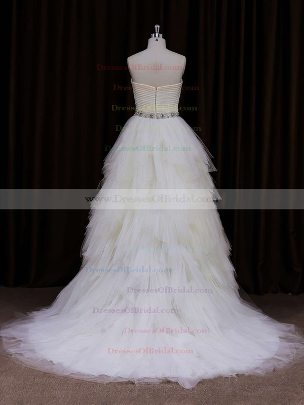 For Cheap Sweetheart Ivory Court Train Tulle Tiered Wedding Dress #DOB00021799