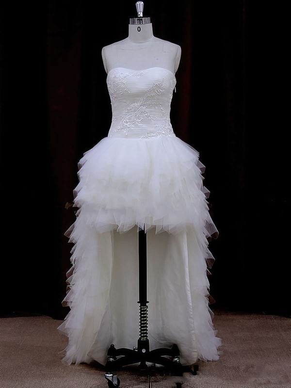 Ivory High Low Tulle with Appliques Lace Strapless Asymmetrical Wedding Dress #DOB00021802