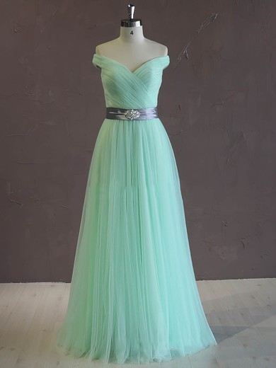 Great Off-the-shoulder Tulle Sashes/Ribbons Green A-line Wedding Dress #DOB00021806