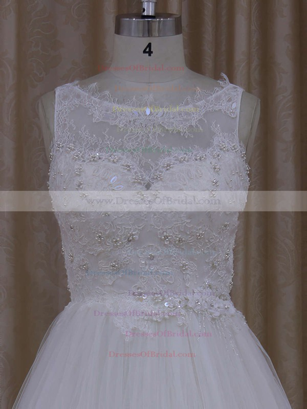 Inexpensive Scoop Neck Ivory Tulle Appliques Lace Princess Wedding Dress #DOB00021812