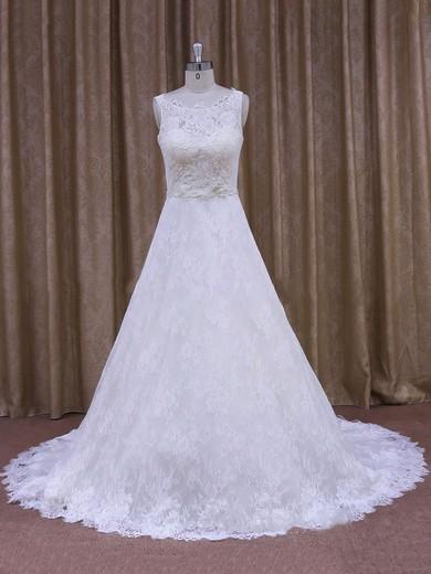 Latest Scoop Neck White Lace Appliques Court Train Wedding Dress #DOB00021828
