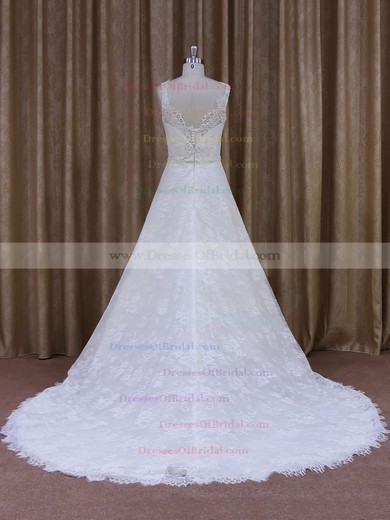 Latest Scoop Neck White Lace Appliques Court Train Wedding Dress #DOB00021828
