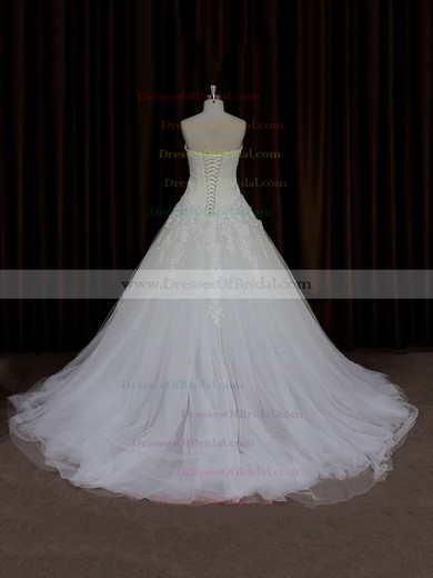 Court Train Ivory Lace-up Tulle Appliques Lace Sweetheart Wedding Dress #DOB00021835
