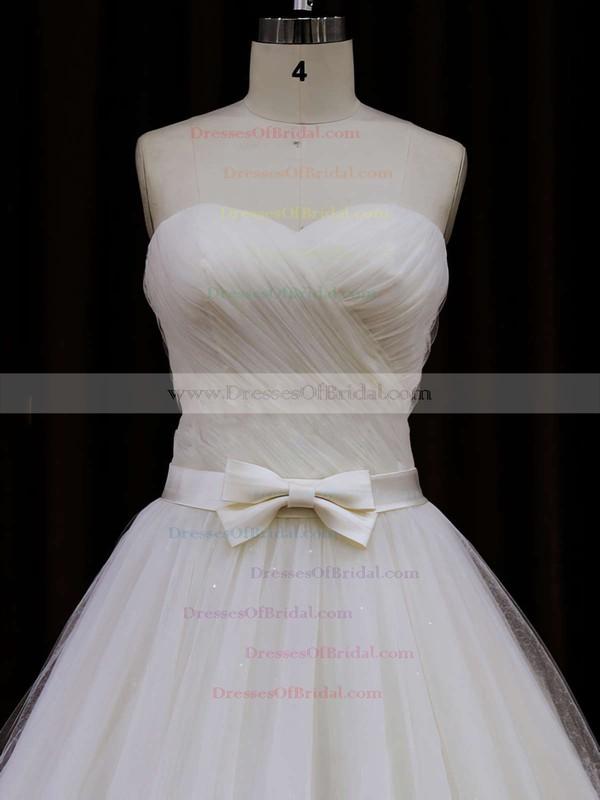 Sweetheart Sashes/Ribbons Chapel Train Ivory Tulle Best Wedding Dresses #DOB00021840