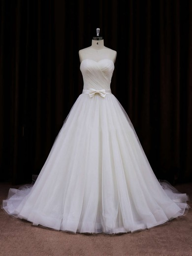Sweetheart Sashes/Ribbons Chapel Train Ivory Tulle Best Wedding Dresses #DOB00021840