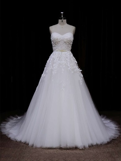 Ivory Tulle Appliques Lace Sweetheart Lace-up Chapel Train Wedding Dress #DOB00021849