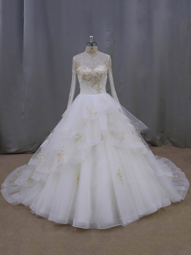 Ball Gown Tulle Appliques Lace High Neck Long Sleeve Ivory Wedding Dresses #DOB00021852