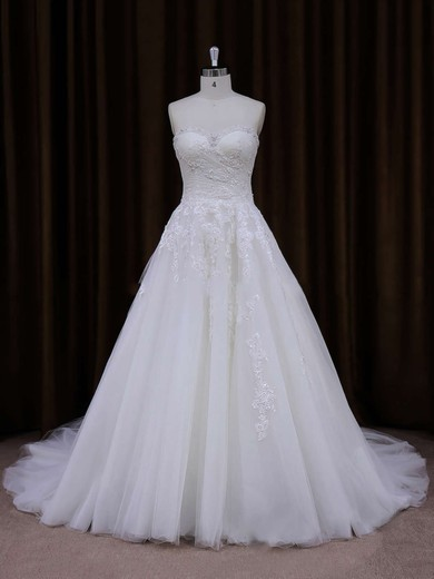 Best Sweetheart Appliques Lace Ivory Tulle A-line Wedding Dress #DOB00021855