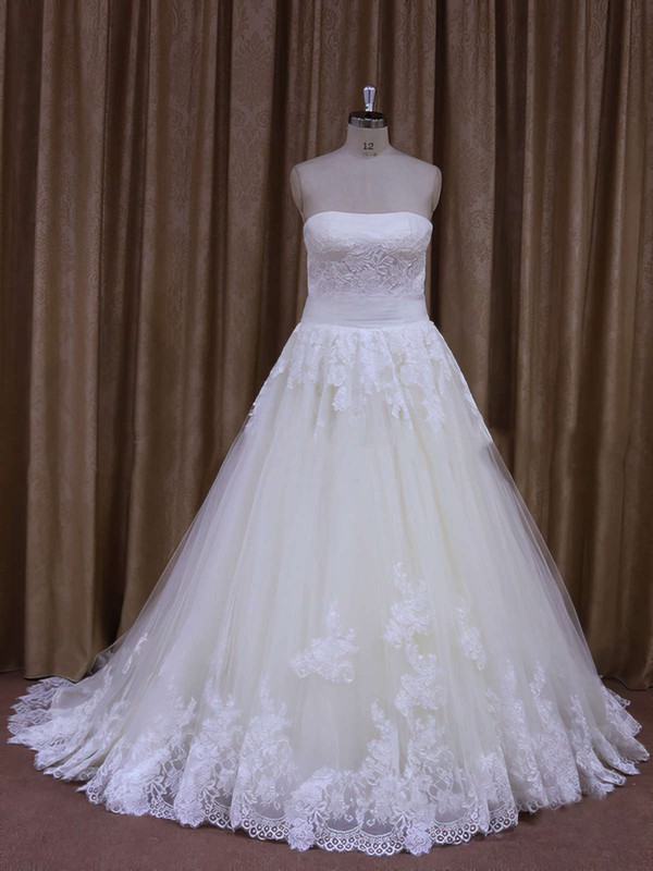 Strapless Lace-up Appliques Lace Ivory Tulle A-line Wedding Dresses #DOB00021856