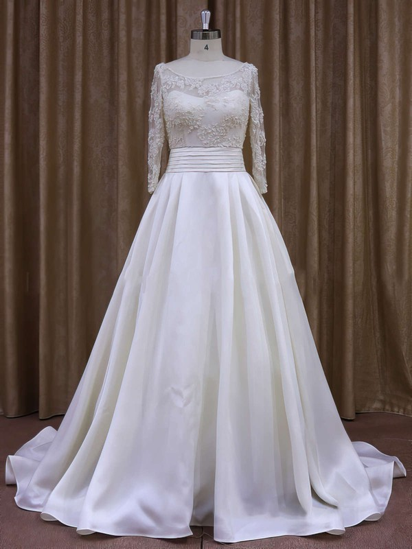 Scoop Neck Appliques Lace Long Sleeve Ivory Taffeta Court Train Wedding Dress #DOB00021877