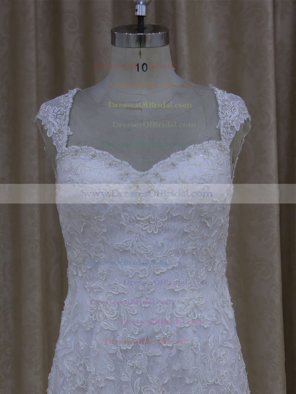 Sweetheart White Lace Tulle Appliques Lace Cap Straps Trumpet/Mermaid Wedding Dresses #DOB00021895