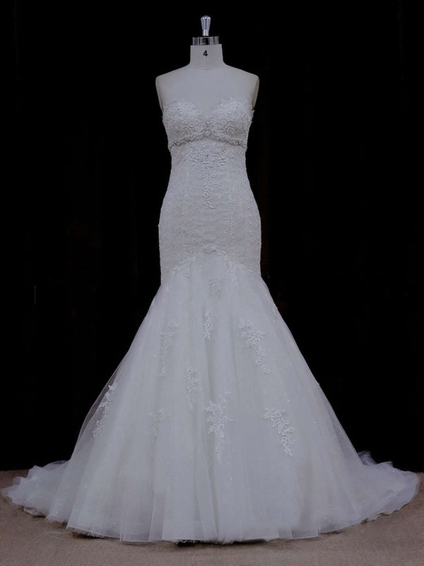 Chapel Train Ivory Lace Tulle Beading Trumpet/Mermaid Wedding Dress #DOB00021915