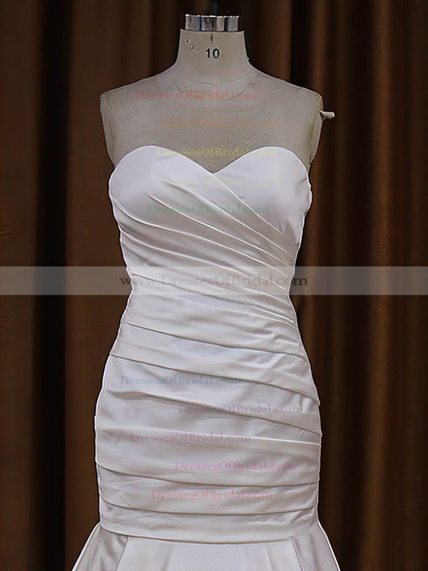 Sweetheart Ivory Taffeta Ruffles Button Trumpet/Mermaid Wedding Dresses #DOB00021916