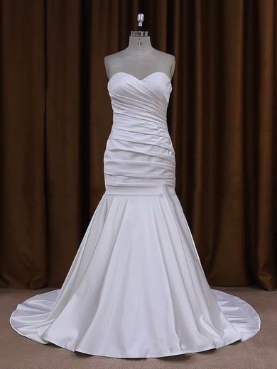 Sweetheart Ivory Taffeta Ruffles Button Trumpet/Mermaid Wedding Dresses #DOB00021916