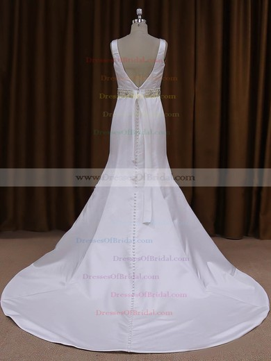 White Satin Scoop Neck Sashes/Ribbons Trumpet/Mermaid Original Wedding Dresses #DOB00021917