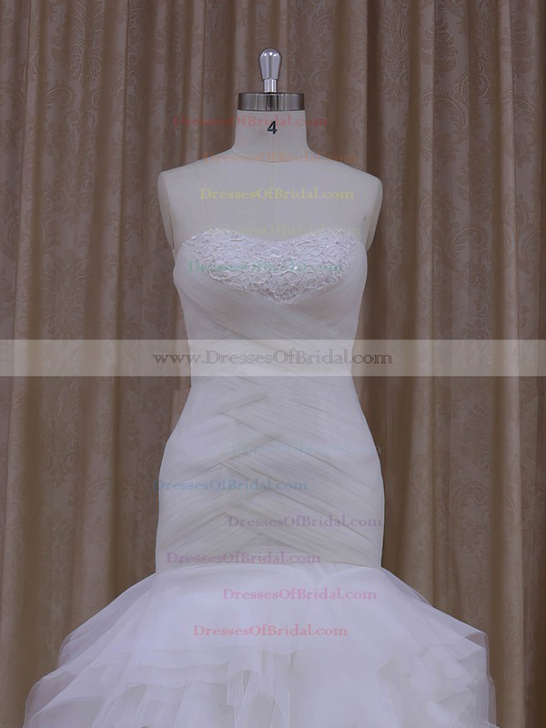Gorgeous Trumpet/Mermaid Cascading Ruffles Sweetheart White Tulle Wedding Dress #DOB00021919