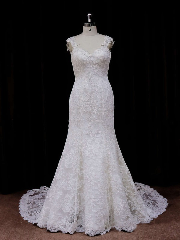 Chapel Train Ivory Lace Open Back Beading Trumpet/Mermaid Wedding Dresses #DOB00021926
