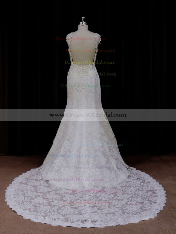 Chapel Train Ivory Lace Open Back Beading Trumpet/Mermaid Wedding Dresses #DOB00021926